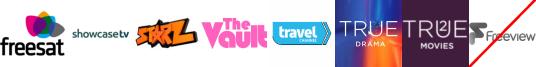 Showcase, Starz TV, The Vault, Travel Channel +1, True Ent  1, True Movies  1