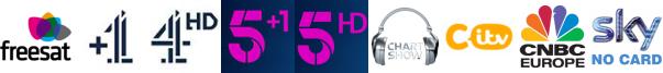 Channel 4 +1, Channel 4 HD, Channel 5 +1, Channel 5 HD, Chart Show TV, CITV, CNBC