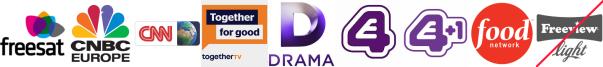 CNBC, CNN, Community Channel, Drama, E4 (Wales), E4 +1, Food Network