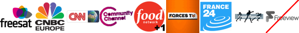 CNBC, CNN, Community Channel, Food Network +1, Forces TV, France 24, Front Runner