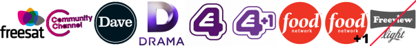 Community Channel, Dave, Drama, E4 (Wales), E4 +1, Food Network, Food Network +1