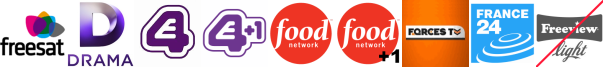 Drama, E4 (Wales), E4 +1, Food Network, Food Network +1, Forces TV, France 24