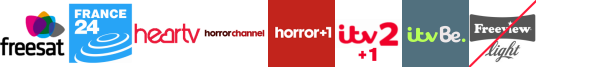 France 24, Front Runner 2, Heart TV , Horror Channel, Horror Channel +1, ITV 2 +1, ITV Be