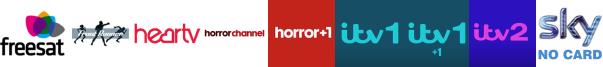 Front Runner, Heart TV, Horror Channel, Horror Channel +1, ITV, ITV +1, ITV 2