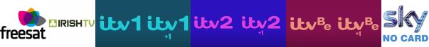 Irish TV, ITV, ITV +1, ITV 2, ITV 2 +1, ITV Be, ITV Be +1