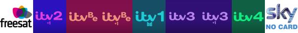 ITV 2 +1, ITV Be, ITV Be +1, ITV HD, ITV3, ITV3 +1, ITV4