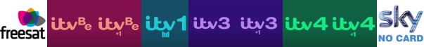 ITV Be, ITV Be +1, ITV HD, ITV3, ITV3 +1, ITV4, ITV4 +1