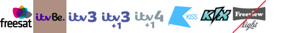 ITV Be +1, ITV3, ITV3 +1, ITV4 +1, Keep It Country, Kiss, Kix