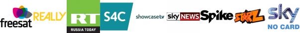 Really, RT HD, S4C HD, Showcase, Sky News, Spike, Starz TV
