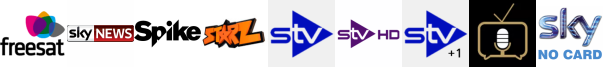 Sky News, Spike, Starz TV, STV, STV HD, STV+1, Talking Pictures TV