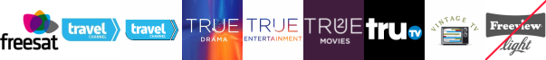 Travel Channel, Travel Channel +1, True Entertainment, True Entertainment  1 , True Movies  1, truTV, Vintage TV