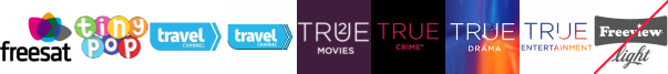 Tiny Pop, Travel Channel, Travel Channel +1, True Christmas  1, True Crime +1, True Drama, True Entertainment