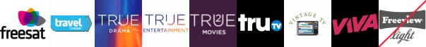 Travel Channel +1, True Ent  1, True Entertainment  1, True Movies  1, truTV, Vintage TV, VIVA