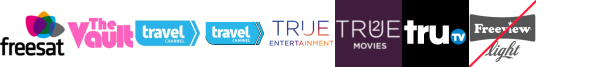The Vault, Travel Channel, Travel Channel +1, True Entertainment, True Entertainment +1, True Movies  1, truTV