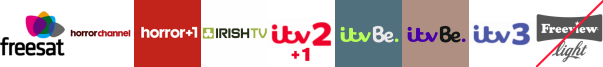 Horror Channel, Horror Channel +1, Irish TV, ITV 2 +1, ITV Be, ITV Be +1, ITV3