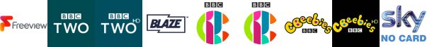 BBC Two, BBC Two HD, Blaze, CBBC, CBBC HD, CBeebies, CBeebies HD