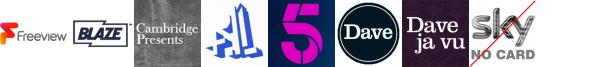 Blaze +1, Cambridge Presents, CBS Action +1, Channel 4+1 HD, Channel 5, Dave, Dave ja vu