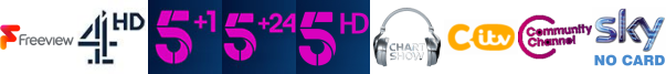 Channel 4 HD, Channel 5 +1, Channel 5 +24, Channel 5 HD, Chart Show TV , CITV, Community Channel