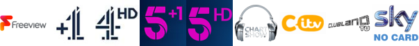 Channel 4 +1, Channel 4 HD, Channel 5 +1, Channel 5 HD, Chart Show TV, CITV, Clubland TV