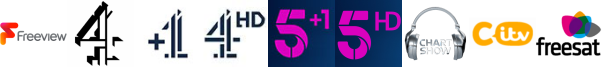 Channel 4 (Wales) , Channel 4 +1, Channel 4 HD, Channel 5 +1, Channel 5 HD, Chart Show TV , CITV