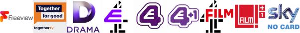 Community Channel, Drama, E4, E4 (Wales), E4 +1, Film4, Film4 +1