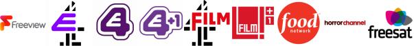 E4, E4 (Wales), E4 +1, Film4, Film4 +1, Food Network, Horror Channel
