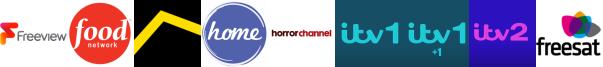 Food Network, Freesports, Home, Horror Channel, ITV, ITV +1, ITV 2