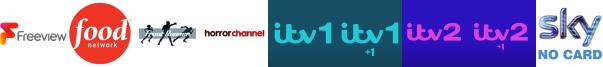 Food Network, Front Runner TV, Horror Channel, ITV, ITV +1, ITV 2, ITV 2 +1