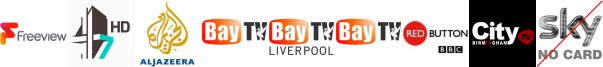 4seven HD, Al Jazeera Eng HD, Bay TV Clwyd, Bay TV Liverpool, Bay TV Swansea, BBC RB 1, Big Centre TV