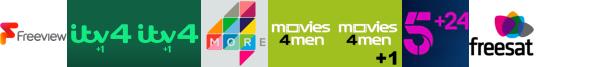 ITV4 +1, ITV4 +1, Keep It Country, More4, Movies4Men, Movies4Men +1, My5