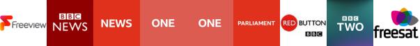 BBC News, BBC News HD, BBC One, BBC One HD, BBC Parliament, BBC Red Button 1, BBC Two
