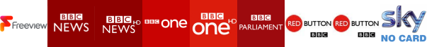 BBC News, BBC News HD, BBC One, BBC One HD, BBC Parliament, BBC Red Button 2, BBC Red Button 3