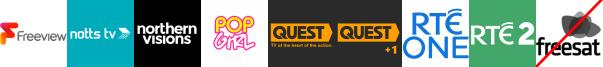 Notts TV, NvTv, Pop +1, Quest, Quest +1, RTE One (NI), RTE Two (NI)