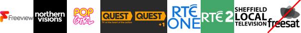 NvTv, Pop +1, Quest, Quest +1, RTE One (NI), RTE Two (NI), Sheffield Live