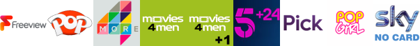 Kix, More4, Movies4Men, Movies4Men +1 , My5, pick, Pop +1