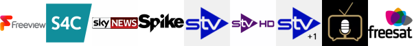 S4C HD , Sky News, Spike, STV , STV HD , STV+1 , Talking Pictures TV
