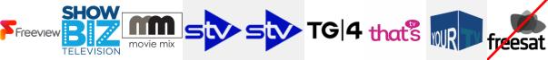 ShowBiz TV, Sony Movie Ch, STV Edinburgh, STV Glasgow, TG4 (NI), That's Berkshire, That's Lancashire