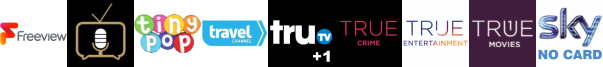 Talking Pictures TV, Tiny Pop, Travel Channel, Tru TV +1, True Crime, True Entertainment , True Movies 1