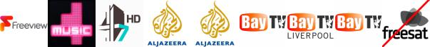4Music, 4seven HD, Al Jazeera Arabic, Al Jazeera Eng HD, Bay TV Clwyd, Bay TV Liverpool, Bay TV Swansea