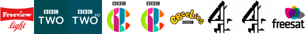 BBC Two, BBC Two HD, CBBC, CBBC HD, CBeebies, Channel 4 , Channel 4 (Wales)