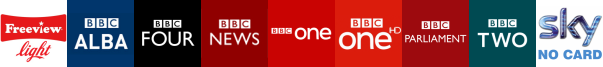 BBC Alba , BBC Four, BBC News, BBC One, BBC One HD, BBC Parliament, BBC Two