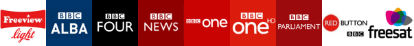 BBC Alba , BBC Four, BBC News, BBC One, BBC One HD, BBC Parliament, BBC RB 1