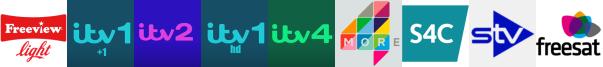 ITV +1, ITV 2, ITV HD, ITV4, More4, S4C HD, STV