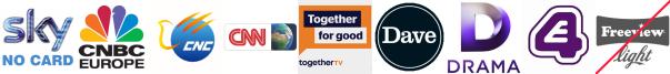 CNBC, CNC English, CNN, Community Channel, Dave, Drama, E4 (Wales)