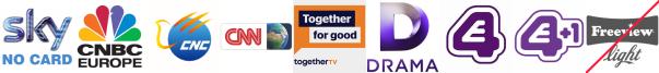 CNBC, CNC English, CNN, Community Channel, Drama, E4 (Wales), E4 +1