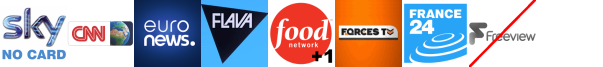 CNN, Determination%20TV, EuroNews, Flava, Food Network +1, Forces TV, France 24