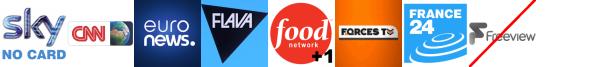CNN, EuroNews, Flava, Food Network +1, Forces TV, France 24, Front Runner 2