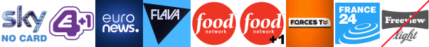 E4 +1, EuroNews, Flava, Food Network, Food Network +1, Forces TV, France 24