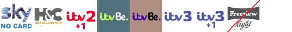 Horse and Country TV, ITV 2 +1, ITV Be, ITV Be +1, ITV3, ITV3 +1, Keep It Country