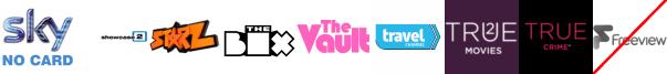Showcase TV +1, Starz TV, The Box, The Vault, Travel Channel +1, True Christmas  1, True Crime +1